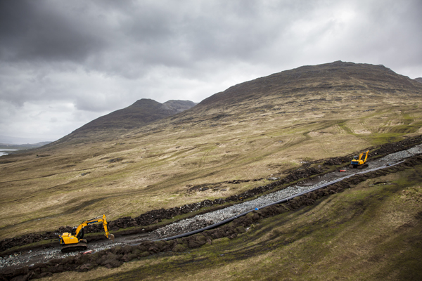 6) benmore Small section opened for penstock installation near the foot of the mountain May 2015